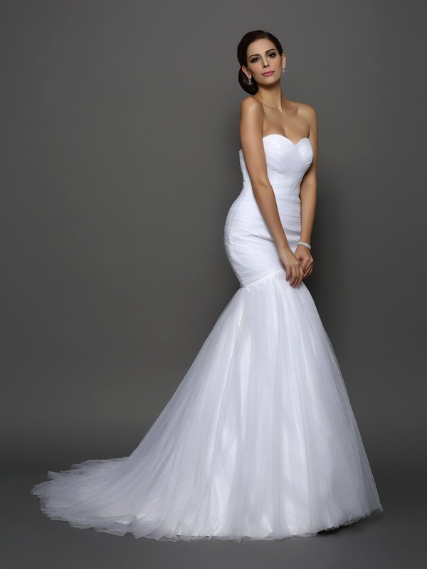 Sweet Sensation Mermaid Style Sweetheart Pleats Long Net Wedding Dresses