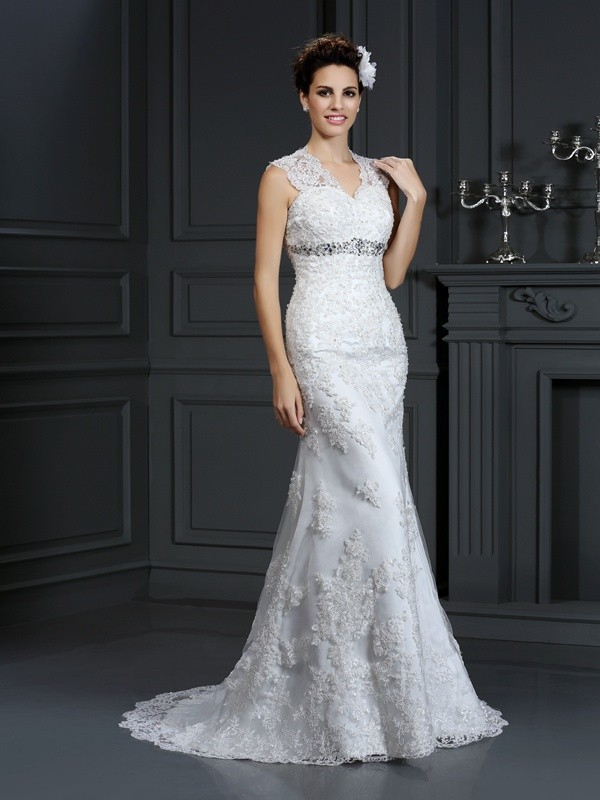 Yours Truly Sheath Style V-neck Beading Long Lace Wedding Dresses