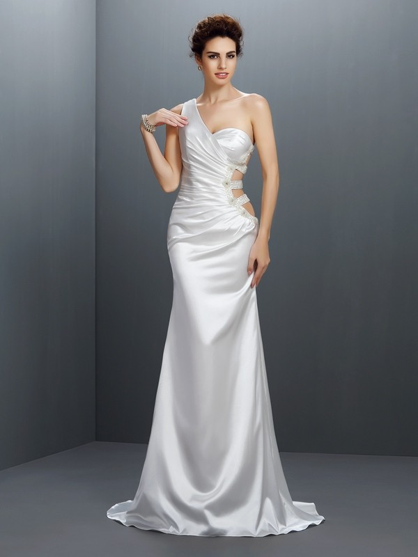 Fresh Picks Mermaid Style One-Shoulder Beading Long Elastic Woven Satin Dresses