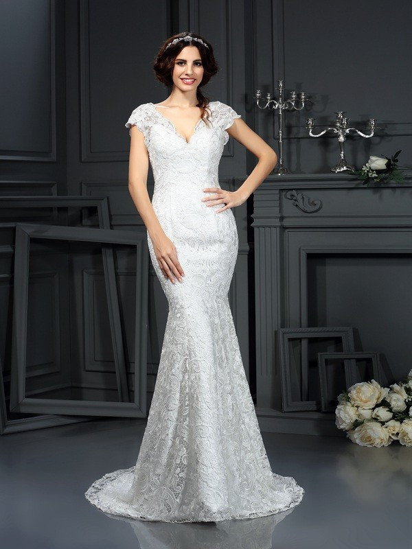 Dashing Darling Mermaid Style V-neck Lace Long Lace Wedding Dresses