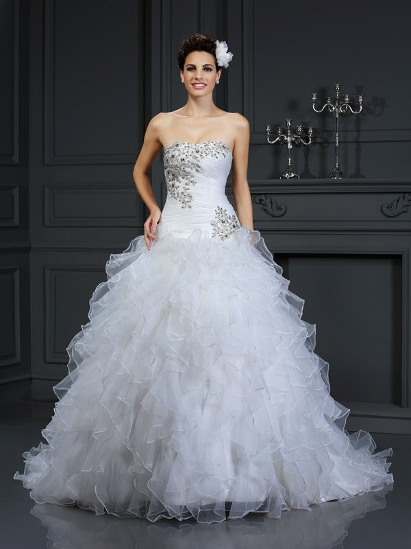 Savor the Occasion Ball Gown Strapless Beading Long Organza Wedding Dresses