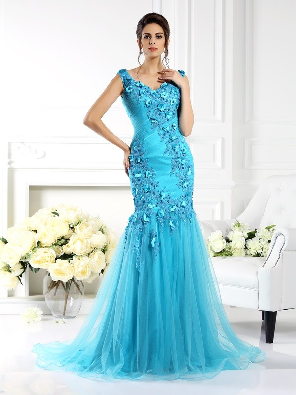 Eye-Catching Charm Mermaid Style Straps Applique Long Silk like Satin Dresses