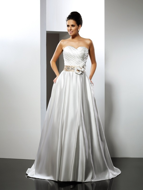 Chic Chic London Princess Style Sweetheart Hand-Made Flower Long Satin Wedding Dresses