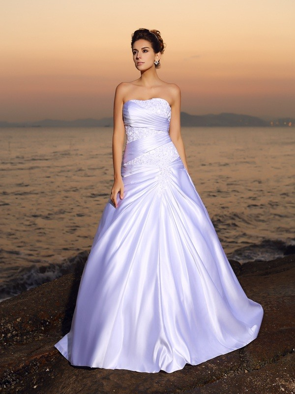 Confident Option Ball Gown Strapless Beading Long Satin Beach Wedding Dresses