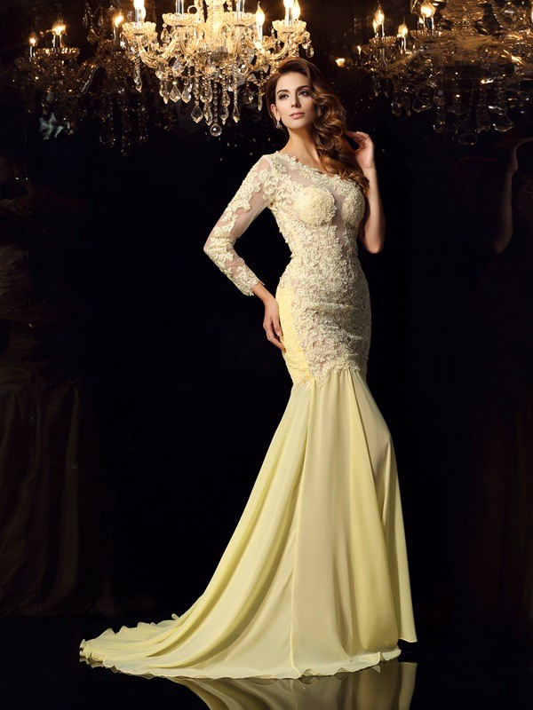 Beautiful You Mermaid Style One-Shoulder Applique Long Chiffon Dresses