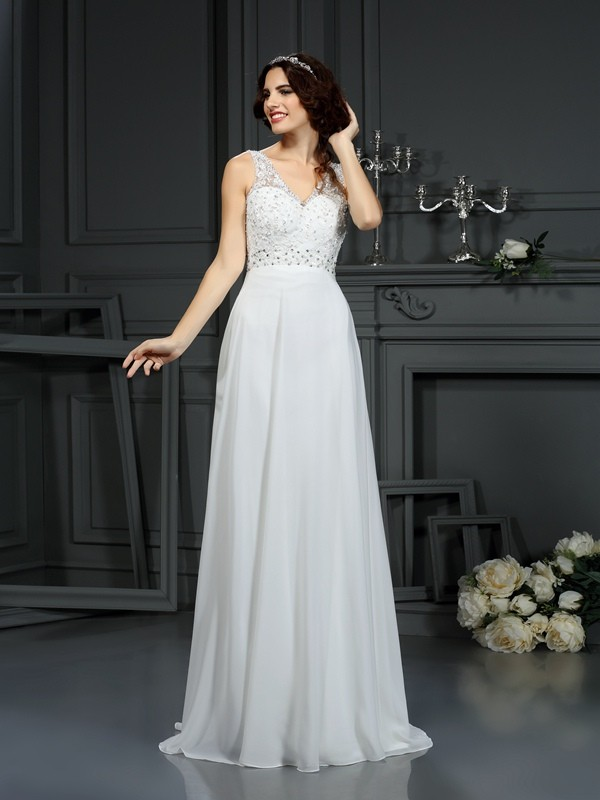 Glitz the Spot Princess Style V-neck Lace Long Chiffon Wedding Dresses