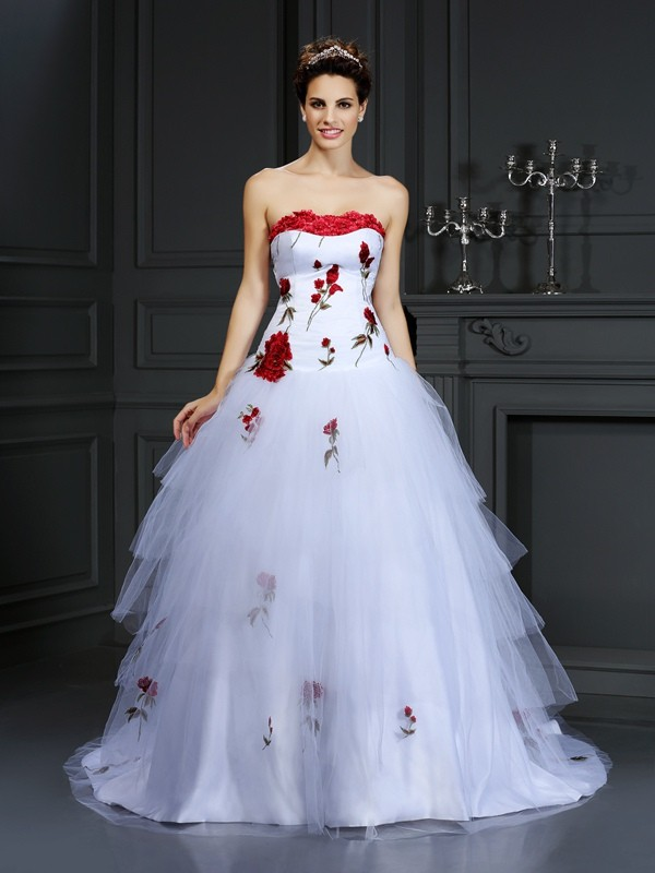 Creative Courage Ball Gown Strapless Hand-Made Flower Long Satin Wedding Dresses
