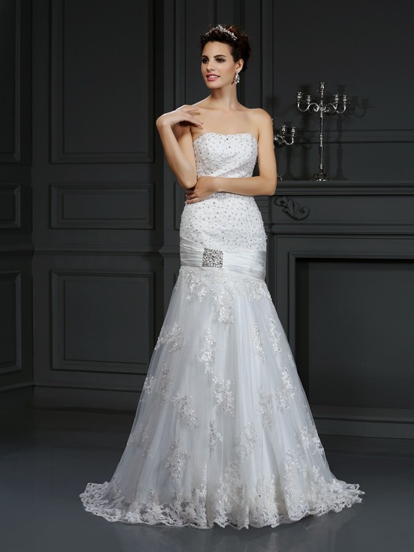 Automatic Classic Sheath Style Strapless Applique Long Satin Wedding Dresses