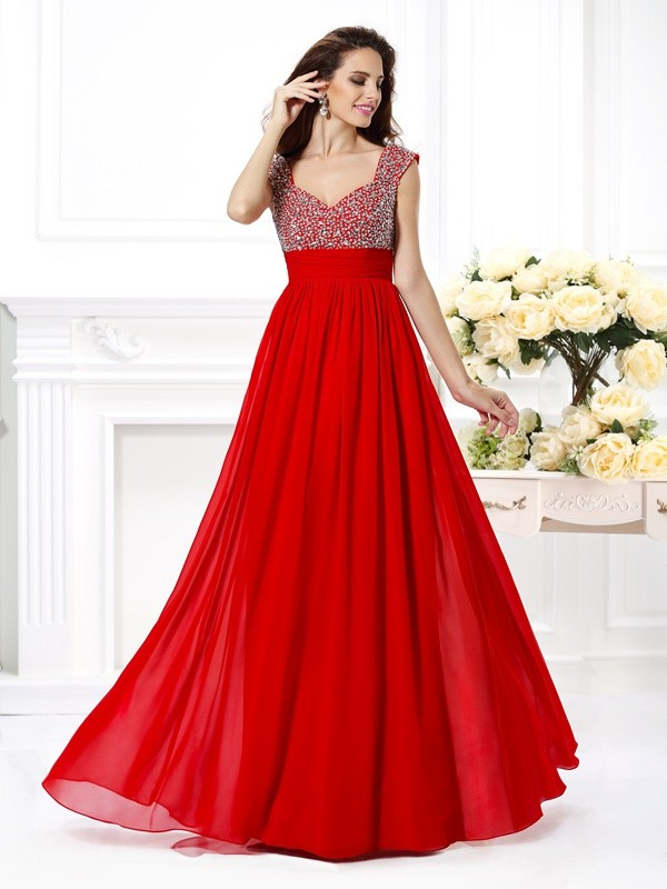 Styled to Smile Princess Style Straps Beading Paillette Long Chiffon Dresses