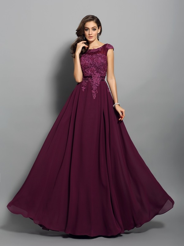 Naturally Chic Princess Style Scoop Applique Long Chiffon Dresses
