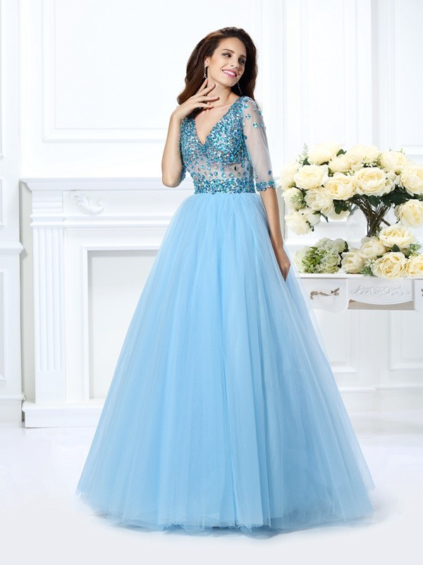 Sweet Sensation Ball Gown V-neck Beading Long Satin Quinceanera Dresses