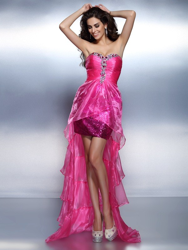 Eye-Catching Charm Sheath Style Sweetheart Beading High Low Organza Cocktail Dresses