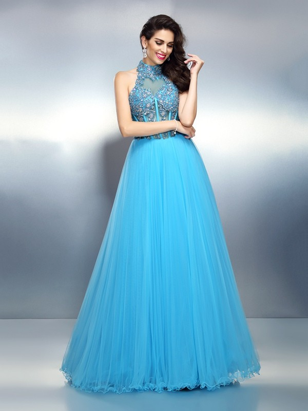 Efflorescent Dreams Princess Style High Neck Beading Long Satin Dresses