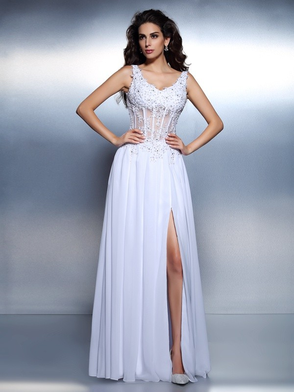 Cordially Delighted Princess Style Scoop Applique Long Chiffon Dresses