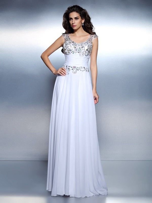 First Impressions Princess Style Scoop Beading Rhinestone Long Chiffon Dresses