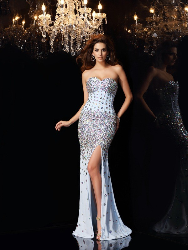 Vibrant Stylist Mermaid Style Sweetheart Rhinestone Long Chiffon Dresses