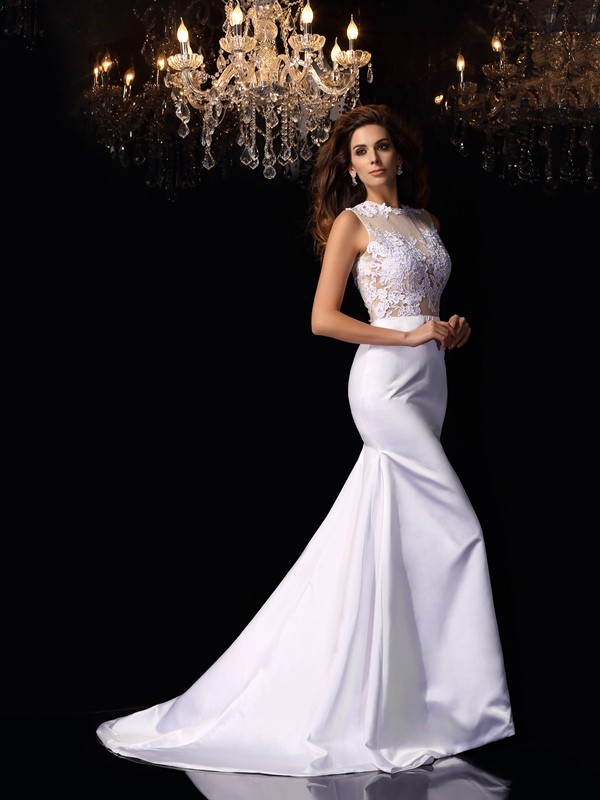 Just My Style Mermaid Style High Neck Applique Long Satin Wedding Dresses