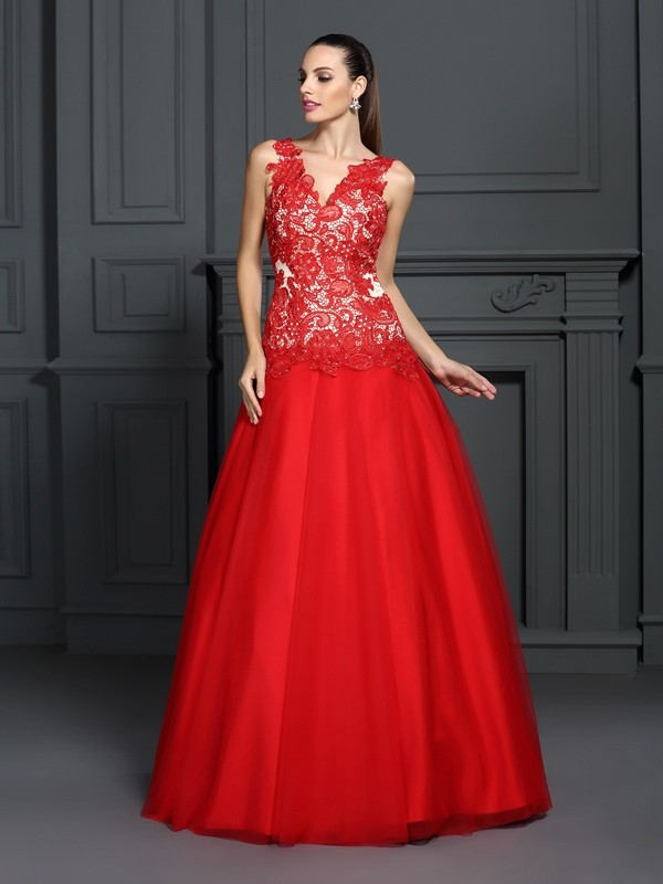 Fresh Picks Ball Gown V-neck Lace Long Lace Quinceanera Dresses