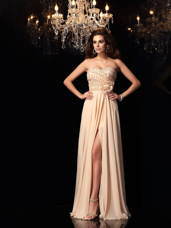 Savor the Occasion Princess Style Sweetheart Hand-Made Flower Long Chiffon Dresses