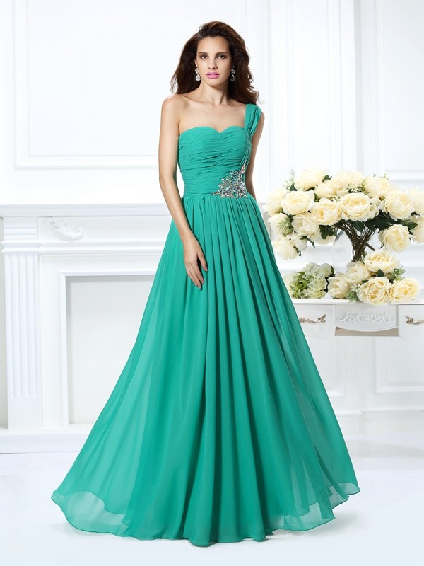 Absolute Lovely Princess Style One-Shoulder Beading Long Chiffon Dresses