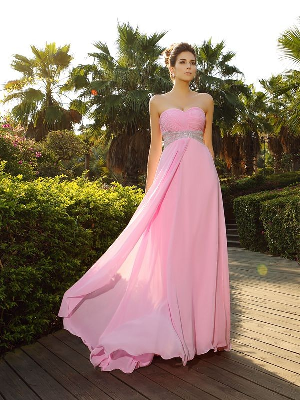Comfortably Chic Princess Style Sweetheart Applique Long Chiffon Dresses