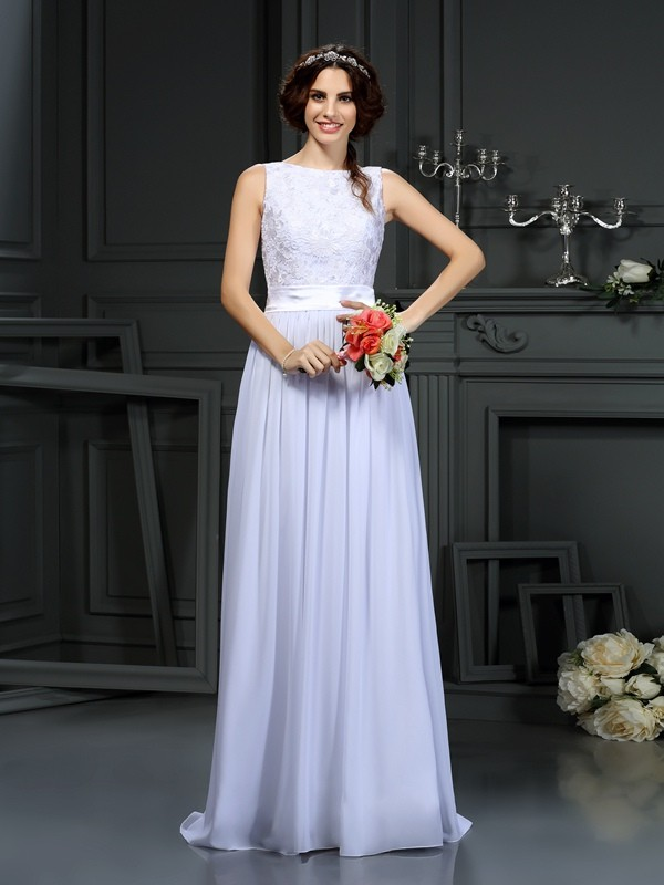 Sweet Sensation Princess Style Scoop Lace Long Chiffon Wedding Dresses