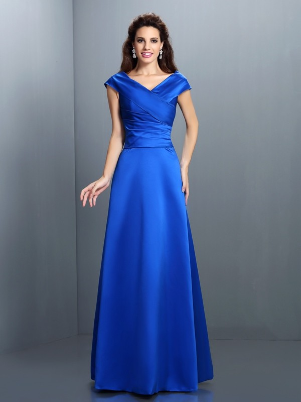 Glitz the Spot Princess Style V-neck Long Satin Dresses