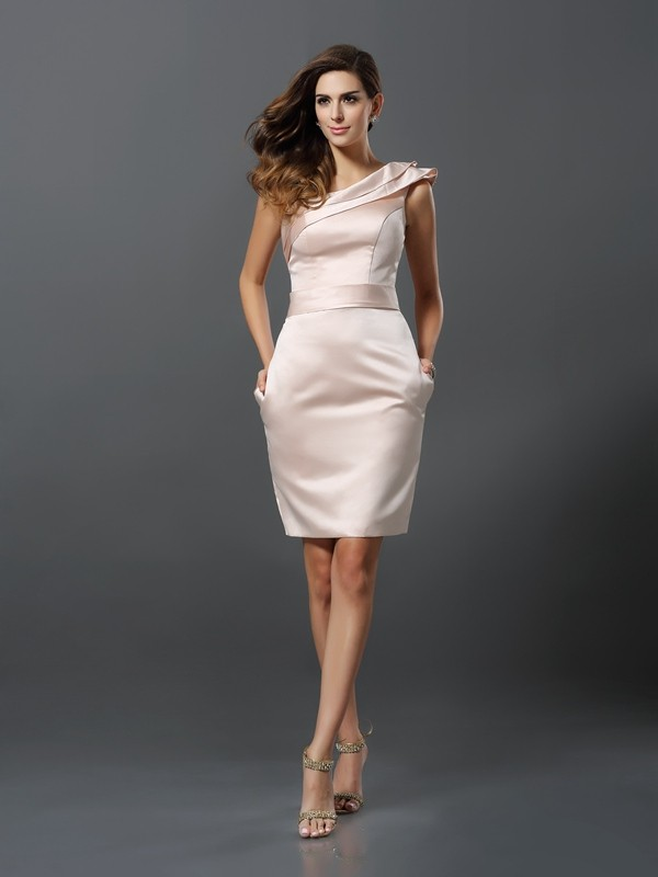 Too Much Fun Sheath Style One-Shoulder Short Satin Cocktail Dresses