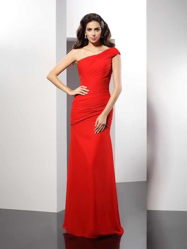 Savor the Occasion Sheath Style One-Shoulder Pleats Long Chiffon Dresses