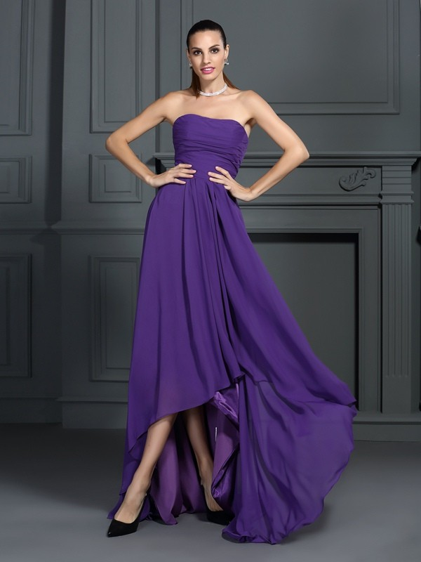 Pleasant Emphasis Princess Style Strapless Pleats High Low Chiffon Cocktail Dresses