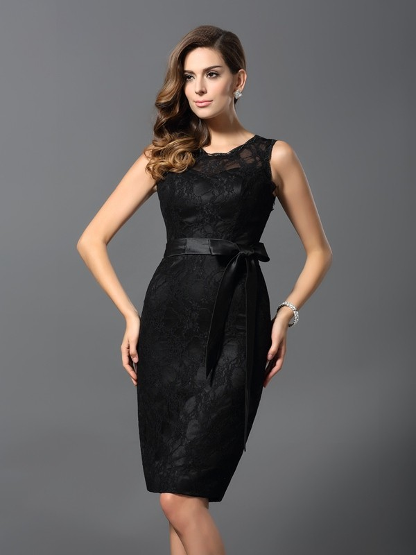 Pretty Looks Sheath Style Jewel Lace Short Satin Cocktail Dresses