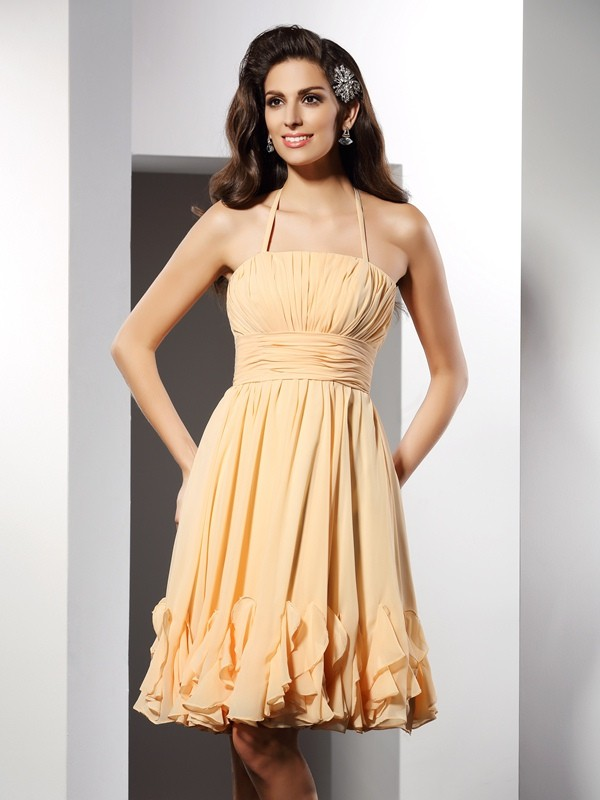Pretty Looks Princess Style Halter Ruffles Short Chiffon Cocktail Dresses