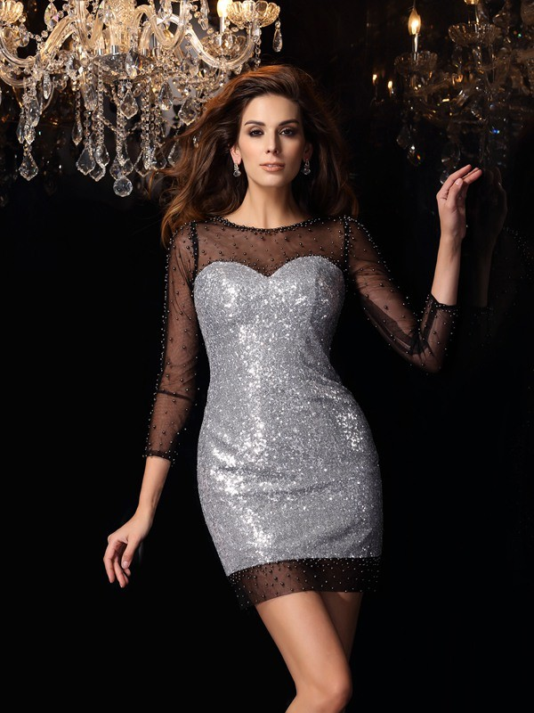 Stylish Refresh Sheath Style Scoop Beading Short Sequins Cocktail Dresses