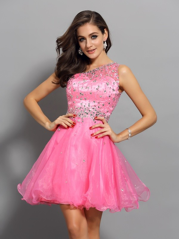 Defined Shine Princess Style One-Shoulder Ruffles Short Organza Cocktail Dresses