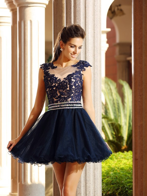 Beautiful You Princess Style Scoop Applique Short Tulle Cocktail Dresses