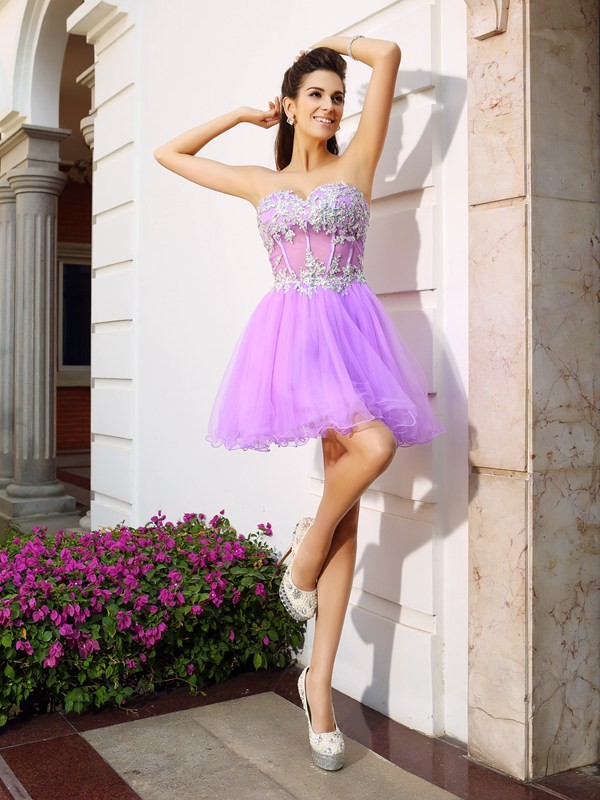 Desired Spotlight Princess Style Sweetheart Beading Applique Short Organza Cocktail Dresses