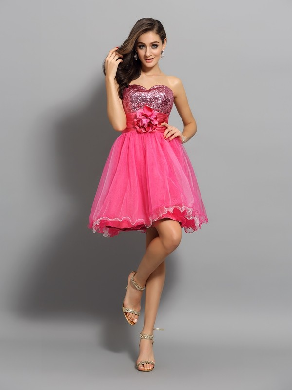 Creative Courage Princess Style Sweetheart Ruffles Short Net Cocktail Dresses
