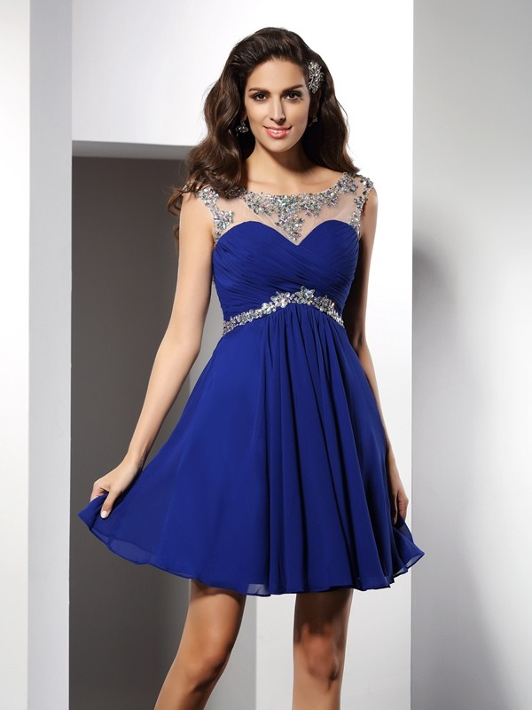 Cordially Delighted Princess Style Scoop Beading Short Chiffon Cocktail Dresses