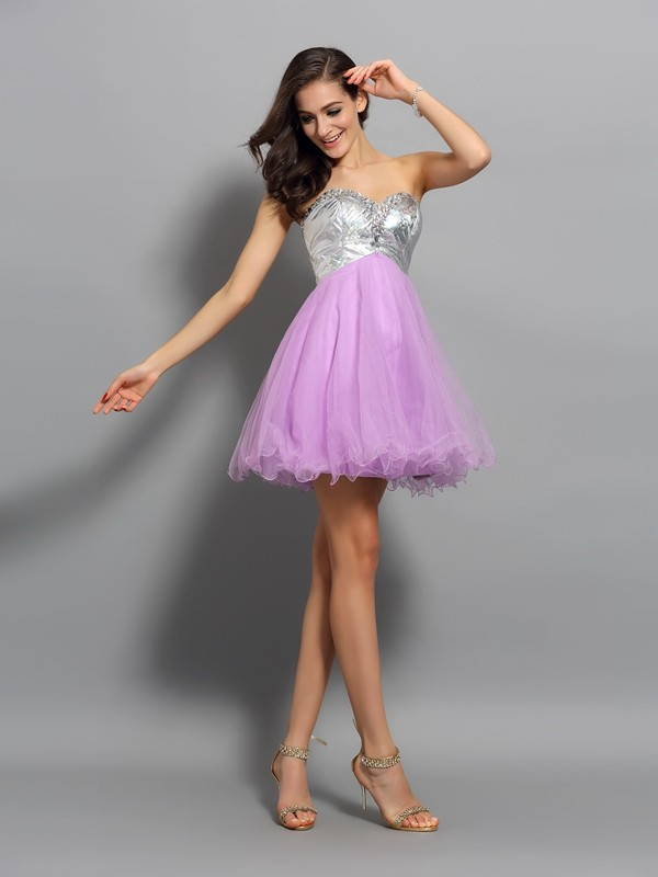 Visual Moment Princess Style Sweetheart Ruffles Short Organza Cocktail Dresses