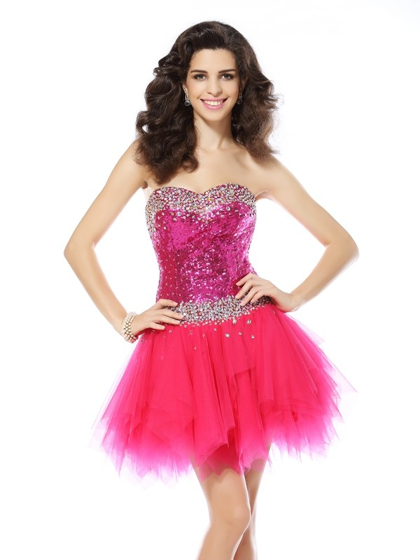 Cheerful Spirit Princess Style Sweetheart Beading Short Net Cocktail Dresses