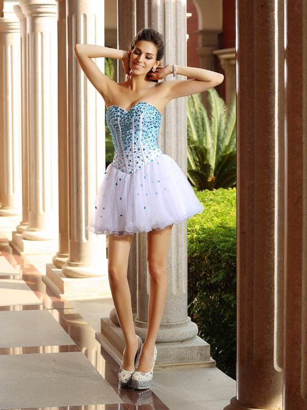 Stylish Refresh Princess Style Sweetheart Ruffles Short Tulle Cocktail Dresses