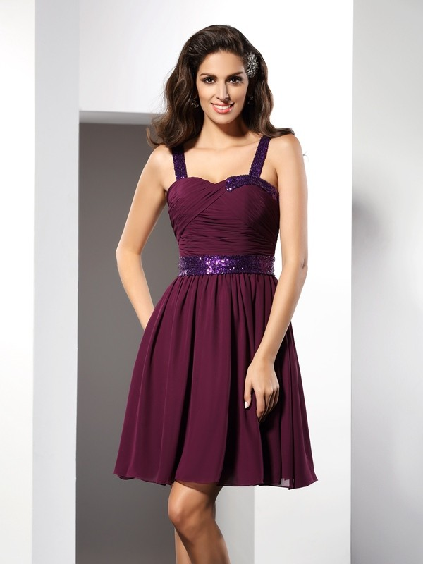Touch of Texture Princess Style Straps Ruched Short Chiffon Cocktail Dresses