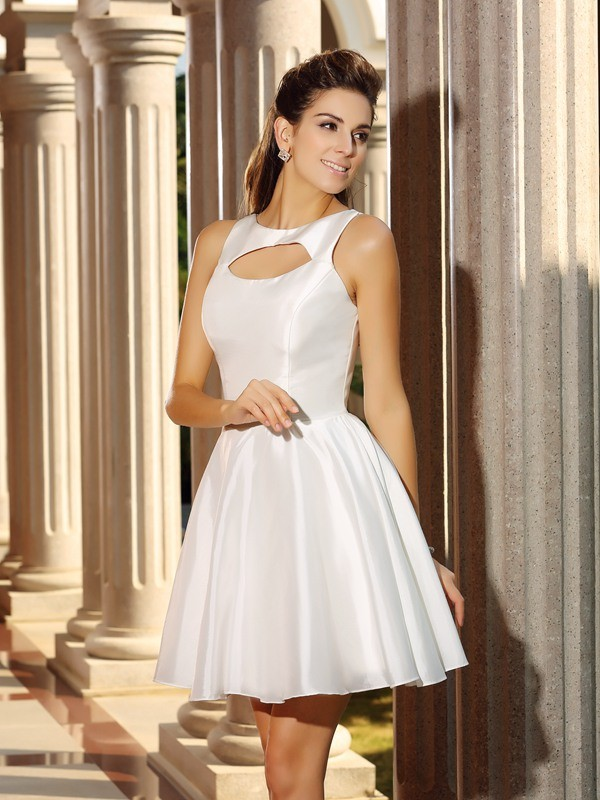 Easily Adored Princess Style High Neck Short Satin Cocktail Dresses