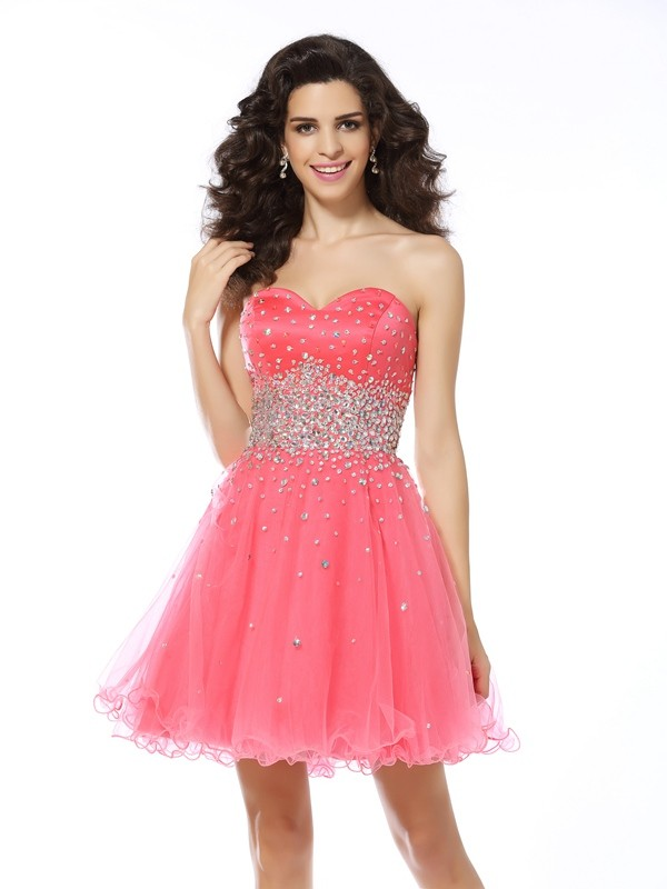 Festive Self Princess Style Sweetheart Beading Short Organza Cocktail Dresses