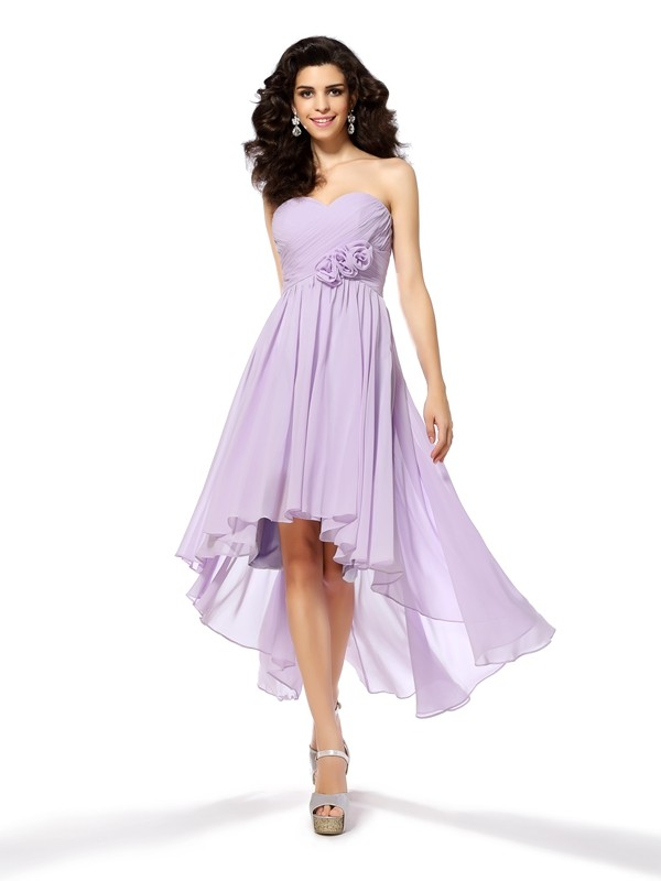 Styled to Smile Princess Style Sweetheart Hand-Made Flower High Low Chiffon Cocktail Dresses