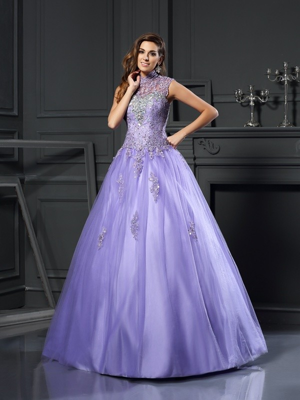Pleased to be Me Ball Gown High Neck Beading Long Net Quinceanera Dresses