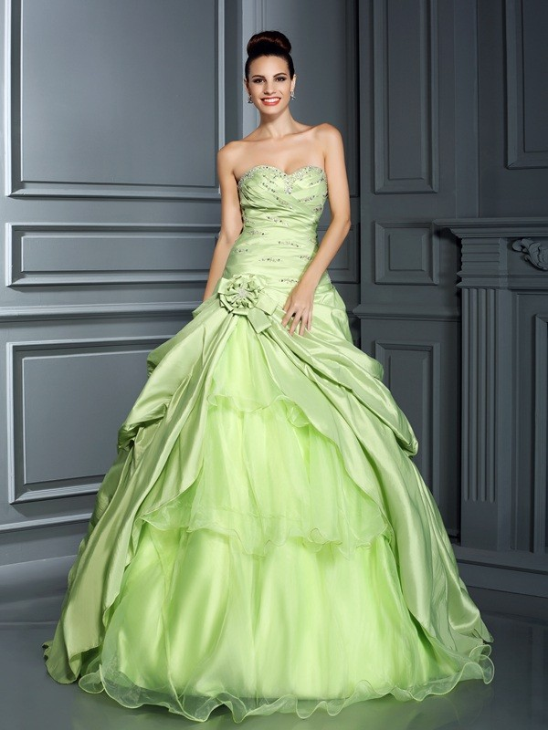 Cheerful Spirit Ball Gown Sweetheart Hand-Made Flower Long Taffeta Quinceanera Dresses