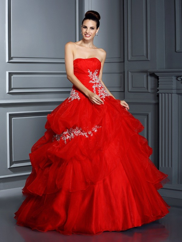 Too Much Fun Ball Gown Strapless Applique Long Organza Quinceanera Dresses