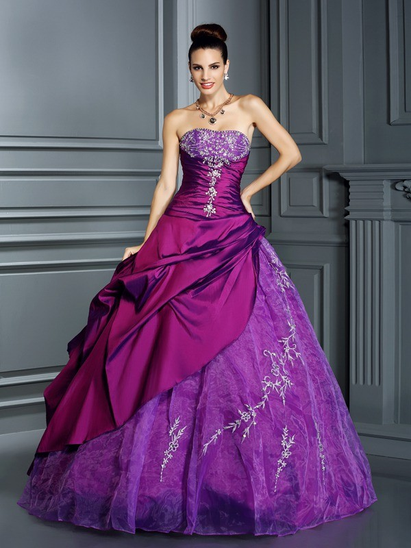 Dancing Queen Ball Gown Strapless Applique Long Taffeta Quinceanera Dresses