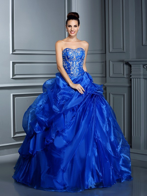 Yours Truly Ball Gown Sweetheart Applique Long Satin Quinceanera Dresses